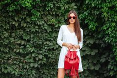 Close up image of happy brunette woman. In sunglasses and red bag posing sideways outdoors royalty free stock image