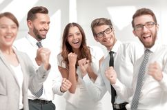 Close up.image of a happy business team. Winning concept royalty free stock photos