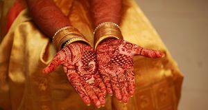 Close up image of henna on the Indian wedding bride. Image of henna on the Indian wedding bride. closeup designs hand stock image