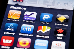 Close-up image of an iPhone screen with icons of Royalty Free Stock Images