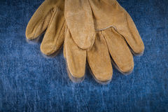 Close up image of leather brown protective gloves Royalty Free Stock Photo