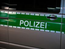 Image of letters Polizei on a german police car royalty free stock photos