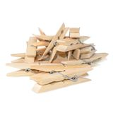 Close Up image of little office clothespins made from wood Stock Photo
