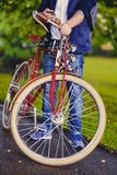 Image of a man on a retro bicycle. stock image