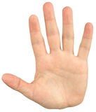 Close-up image of mans hand give a palm hand gesture Royalty Free Stock Photos