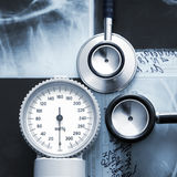 A close-up image of medical items on x-rays Stock Images