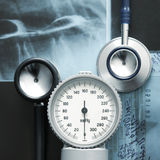 A close-up image of medical items on x-rays Stock Image