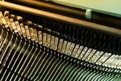 Close up image of metallic typewriter keys. vintage filtered. selective focus Royalty Free Stock Photos