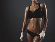 Close up image of middle eastern female in sports clothing relax Royalty Free Stock Photos