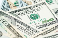 Close up image of money,$100 & $20 bills Royalty Free Stock Photography