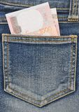 Close-up image of the money in your pocket. Royalty Free Stock Photo