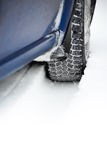 Close-up Image Of Winter Car Tire On Snowy Road. Drive Safe Concept Stock Images