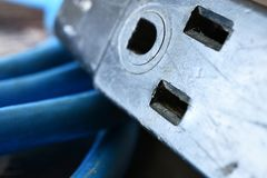 Electrical Cord Close Up. A close up image of an old blue electrical cord stock photos