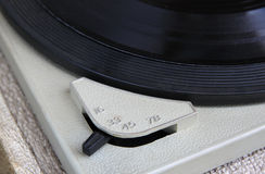 Close up image of old record player, image is retro filtered . selective focus Stock Photos