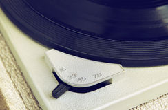 Close up image of old record player, image is retro filtered . selective focus. Stock Images