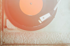 Close up image of old record player, image is retro filtered . selective focus.  Royalty Free Stock Images