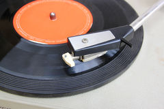 Close up image of old record player. selective focus . Stock Photo
