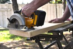 Electric Hand Saw Close Up royalty free stock image