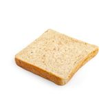 Close-up image of one slice of white bread against the white bac Royalty Free Stock Photo