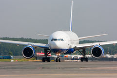Close up image of passenger airplane on the runway. Close up image of passenger airplane royalty free stock images