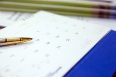 Calendar for Event Planner is busy, planning for business meeting or travel planning concept