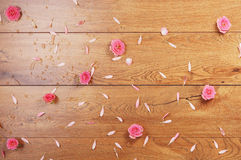 Close-up image of pink roses and petals on the floor Stock Images