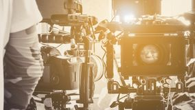 Film crew production equipment. Close-up image of Professional camera equipment Royalty Free Stock Images