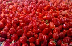 Bunch of fresh strawberries. Delicious fruits stock photography