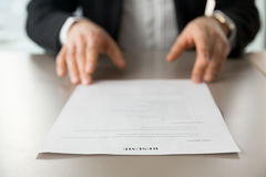 Close up image of resume at desk of employer stock photos