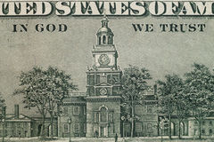 Close up of image on reverse of United States hundred-dollar bill. Top view.  stock photography