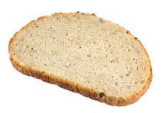 Close up image of slice of bread on against white background Royalty Free Stock Images