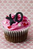 close up image of strawberry cupcake with heart shape and alphab Stock Photo