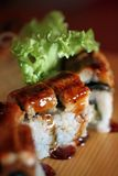 Close up image of sushi roll Stock Images