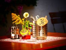 Image of a table setting in a german bavarian beergarden stock image