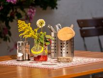 Image of a table setting in a german bavarian beergarden. Close up Image of a table setting in a german bavarian beergarden royalty free stock photography