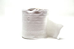 Close-up image of toilet paper studio isolated. On white background Stock Photography