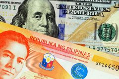 A close up image of a twenty Philippine peso with an American hundred dollar bill stock photography