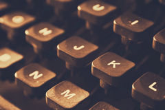 Close up image of typewriter keys. vintage filtered. selective focus Stock Images