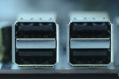 Close-up image of USB port on computer motherboard.selective foc Stock Images