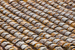 Close up image on very old roof tiles Stock Images