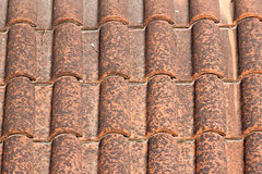 Close up image on very old roof tiles Royalty Free Stock Photo