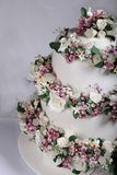 Close up image of Wedding Cake with Sugar Flowers royalty free stock image