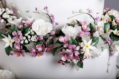 Close up image of Wedding Cake with Sugar Flowers royalty free stock photo