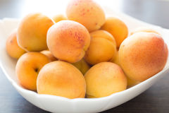 Close up image of white bowl full of ripe apricots Stock Photo