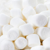 Close up image of White Fluffy Round Marshmallows ready to eat. Stock Image