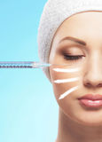 Close-up image of a woman on plastic surgery Royalty Free Stock Photography