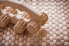 Close up image of wooden relaxing massager on Stock Image
