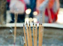 Close up of incense stick. S at Monastery of 10.000 Buddha in Hong Kong royalty free stock photos