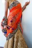 Close up of Indian Bride in a modern fashionable sari stock photography