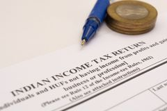 Close up of Indian Income tax return form on isolated background. royalty free stock photography